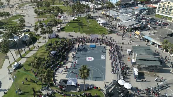 Thumbnail for Aerial of a basketball court