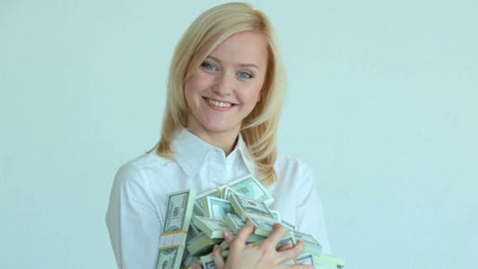 Blond Girl With Dollars