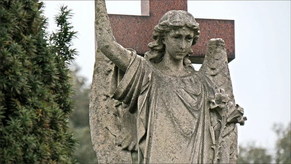 Thumbnail for A Statue of a Lady Angel in the Cemetery