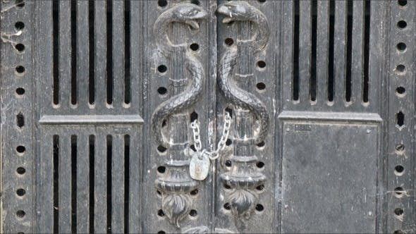Thumbnail for The Big Black Gate with Carvings on it