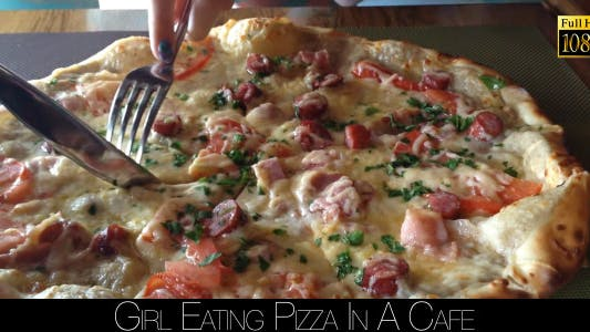 Thumbnail for Girl Eating Pizza In A Cafe 3