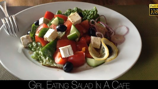 Thumbnail for Girl Eating Salad In A Cafe 5