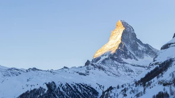 Sunrise at the Matterhorn at Winter