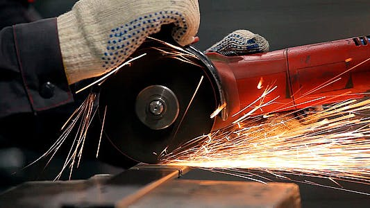 Thumbnail for Worker Sawing Metal With a Circular Saw Sparks