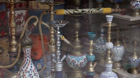 Hookah In Souvenir Shop In Turkey