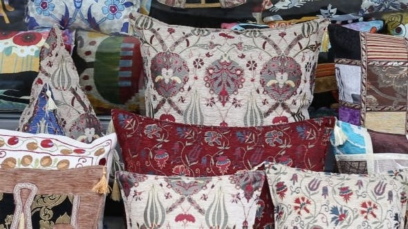 Colorful Turkish Design Cushions At Grand Bazaar
