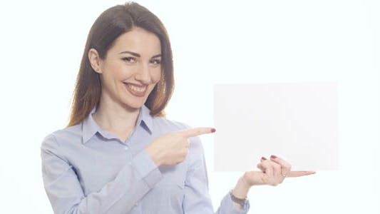 Thumbnail for Showing Blank Paper with Finger and Smiling