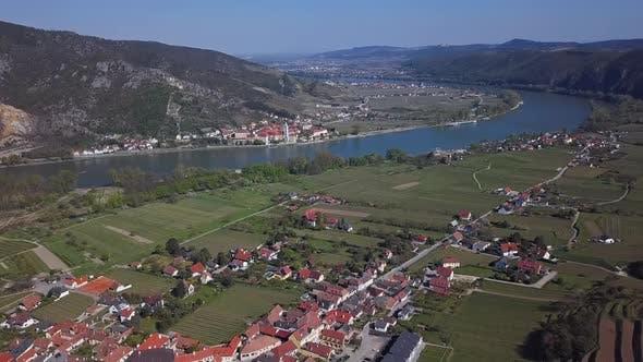 Thumbnail for Aerial of Durnstein, Wachau Valley, Austria