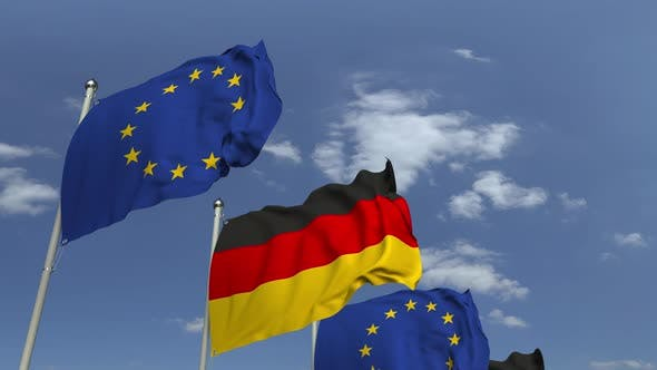 Thumbnail for Waving Flags of Germany and the EU
