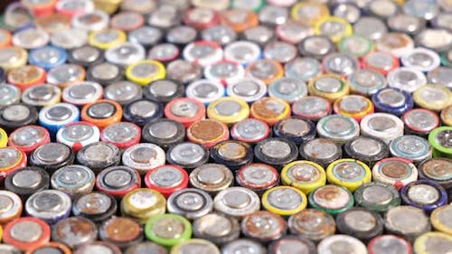 Batteries from different manufacturers, collection and recycling.