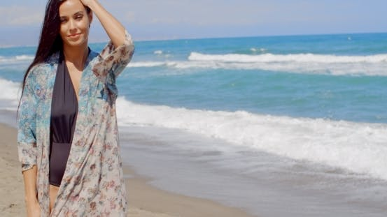 Thumbnail for Pretty Young Woman In Summer Wear At The Beach