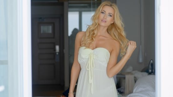 Thumbnail for Gorgeous Blond Woman Posing Inside Her Room