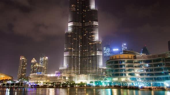 Thumbnail for Time Lapse of Dubai Burj Khalifa at Night with Musical Fountain. Pan Up