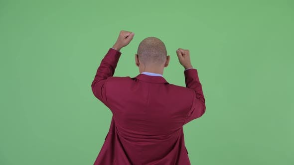Thumbnail for Rear View of Happy Bald Multi Ethnic Businessman with Fists Raised