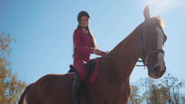 Thumbnail for Portrait of a Cute Caucasian Female Equestrian in Pink Clothes and Horse Riding Helmet Sitting in