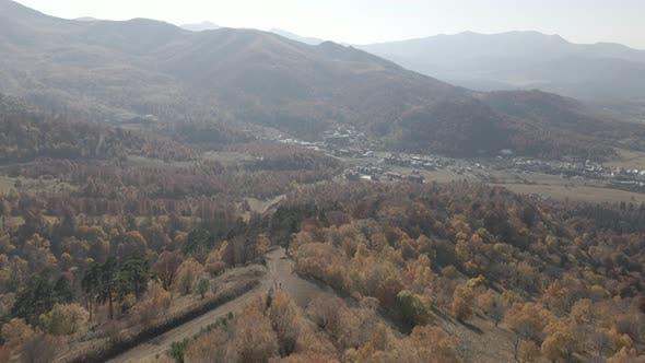 Aerial view of Ski resort Bakuriani. Georgia 2020 autumn