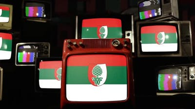 Flag of Augsburg, Germany, on Retro TVs.
