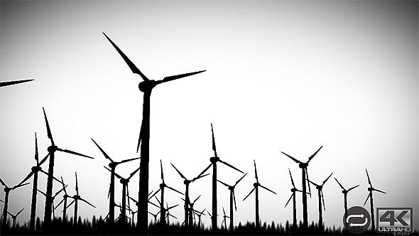 Thumbnail for Wind Energy Turbines Silhouettes