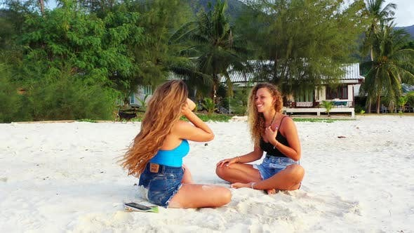 Thumbnail for Ladies together happy together on tranquil shore beach lifestyle by transparent lagoon and clean san