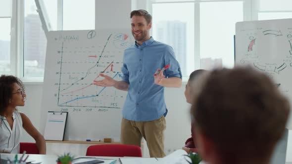 Business Coach Making Presentation Modern Office