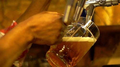 The Dark-Skinned  Bartender Pours a Beer