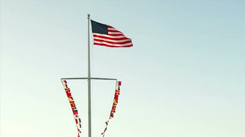 American Flag And Nautical Flags