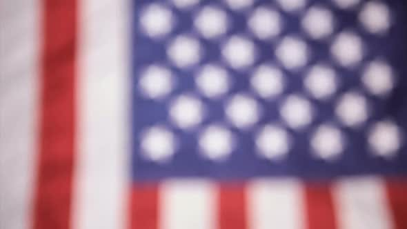 Vertical, American Flag And Microphone