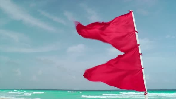Thumbnail for Red Flag Waving On Tropical Beach 1
