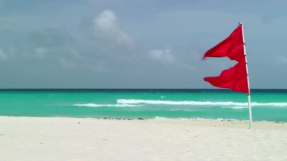 Thumbnail for Red Flag Waving On Tropical Beach 2
