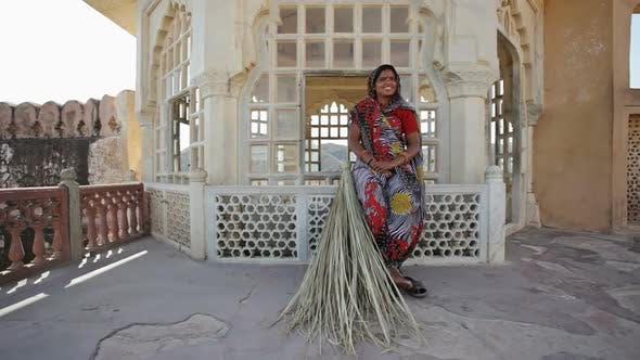 Thumbnail for Indian Woman With Reed Broom