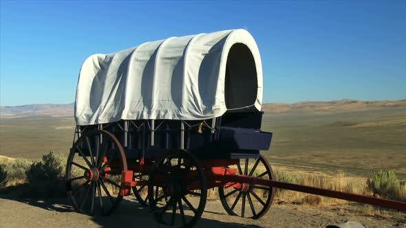 Pioneer Covered Wagon With Praire In Background