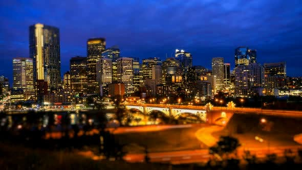 Thumbnail for Calgary Skyline At Night, Time Lapse