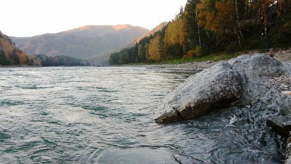 Thumbnail for Stone Is On the Coast Of A Katun River In Altay