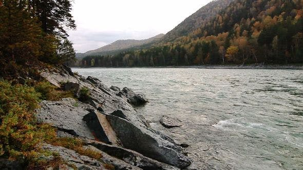 Thumbnail for Rocky Coast Of A Katun River In Altay
