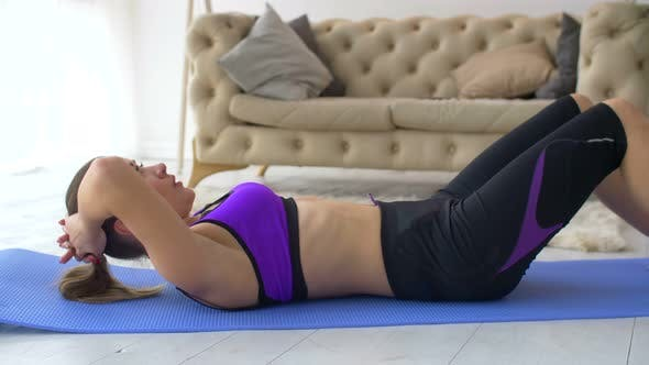 Thumbnail for Tired Woman Lying on Fitness Mat After Doing Sit-ups