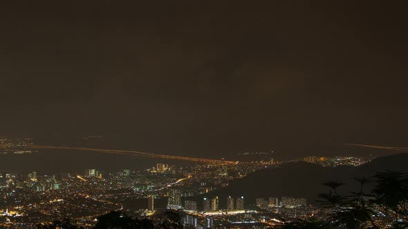 Thumbnail for Timelapse Night Of Georgetown, Penang View From Penang Hill Lightning Storm