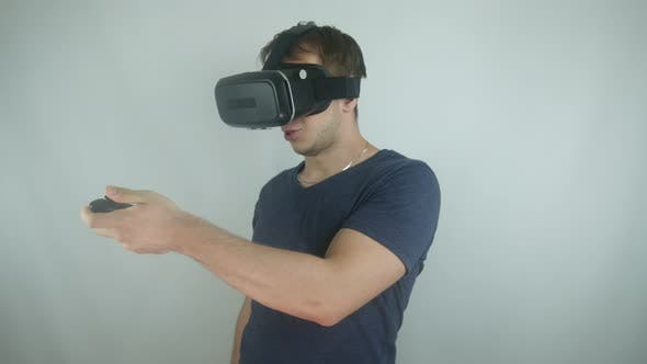 Thumbnail for Man In The Helmet Of Virtual Reality In A Simulation Game