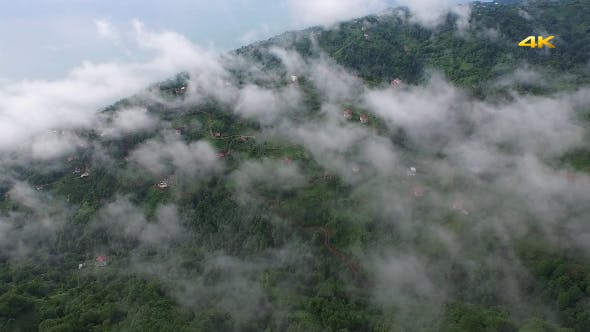 Thumbnail for Aerial Flying Over Above Forest on Clouds Fog 2