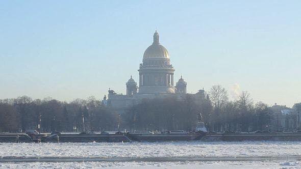 St. Isaac's Cathedral And Neva, St Petersburg