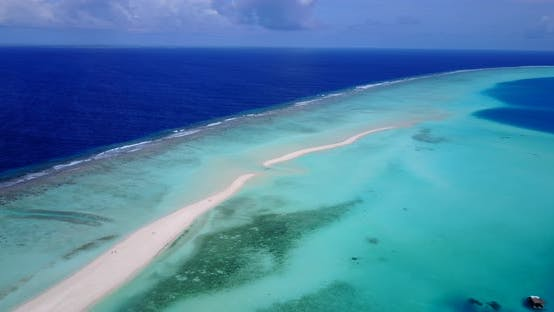 Thumbnail for Daytime birds eye copy space shot of a white paradise beach and aqua blue water background in colour