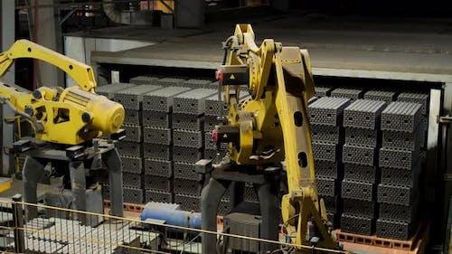 Brick production at the ceramic bricks factory
