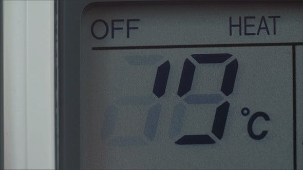 Temperatur von Celcius sinkt ab