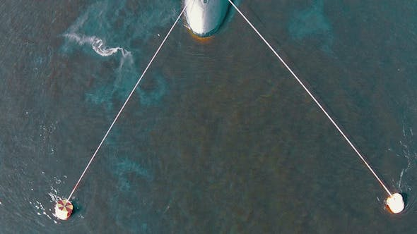 Thumbnail for Aerial View Submarine Moored on Buoys