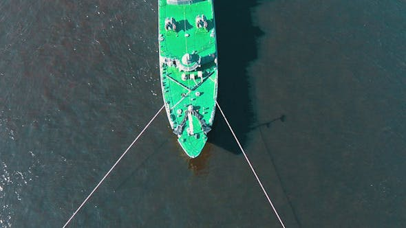 Thumbnail for Aerial View Warship Moored on Buoys