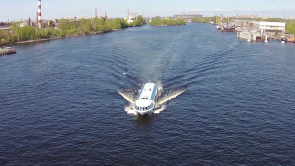 Thumbnail for Aerial View to High-Speed Hydrofoil Boat