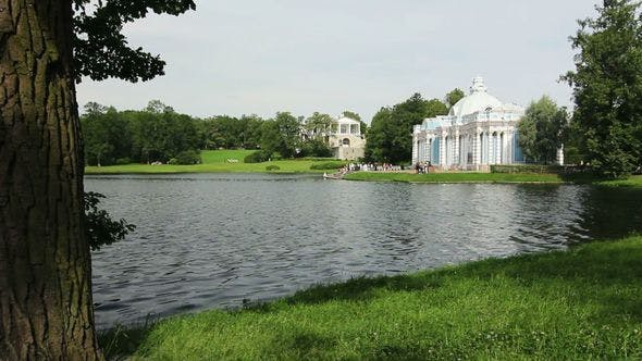Grotto Pavilion And Lake In Tsarskoe Selo