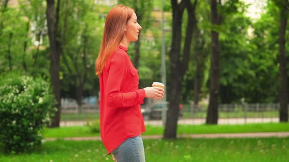 Thumbnail for Girl Walking By Road in Beautiful Summer Park