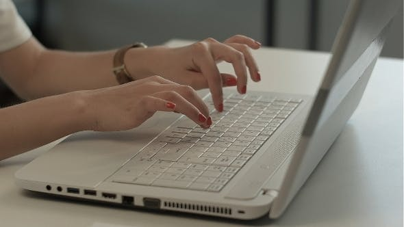 Thumbnail for Woman Hands Typing On Computer Keyboard
