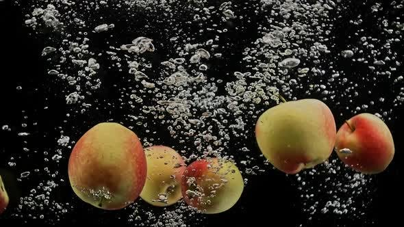 Thumbnail for Fresh Red and Yellow Apples Falling in Splash of Water Isolated on Black Background