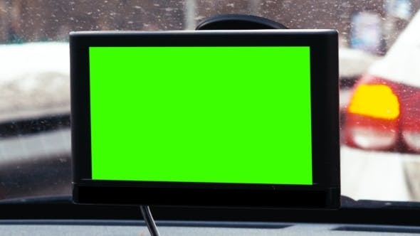 Thumbnail for GPS Device With Chroma Key Over Dashboard